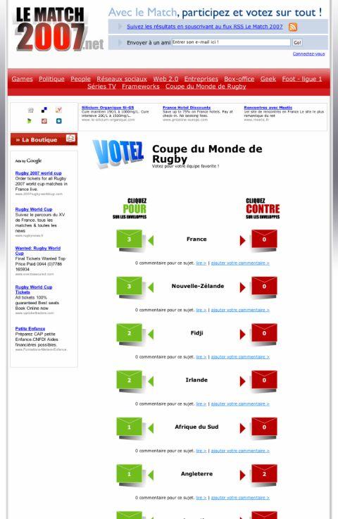 Le Match 2007 : Participez, votez, éliminez !