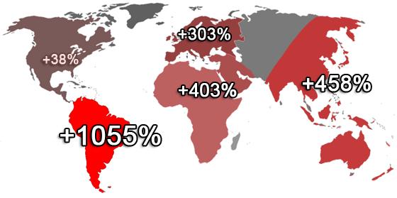 Croissance mondiale de Facebook entre juin 2007 et juin 2008