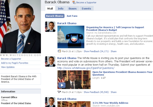 Page Facebook de Barack Obama