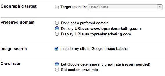 Paramètres par défaut de site sur Google Webmaster tools
