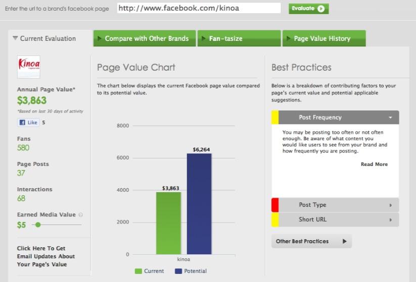 Vitrue Social Page Evaluator
