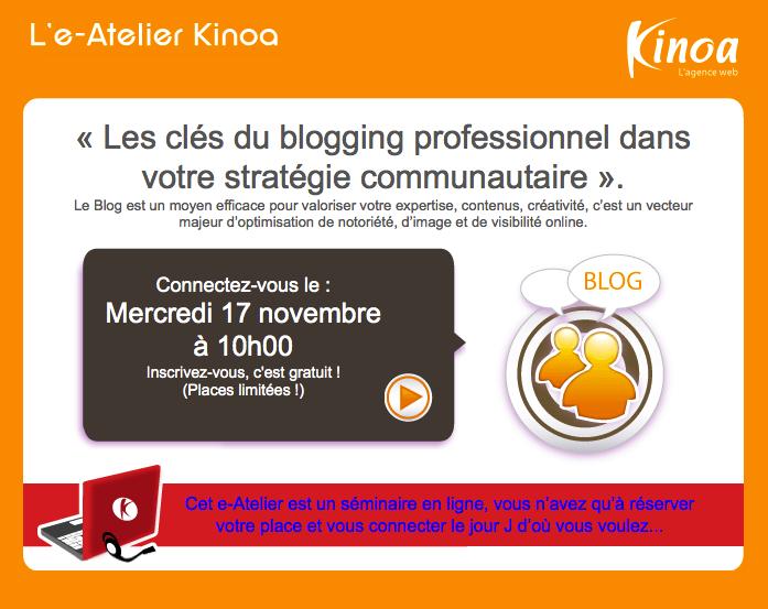 e-Atelier kinoa les clés du blogging professionnel