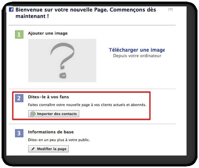 importer des contacts sur une page Facebook