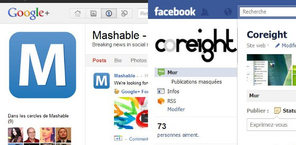 interface facebook et google+ comparaison