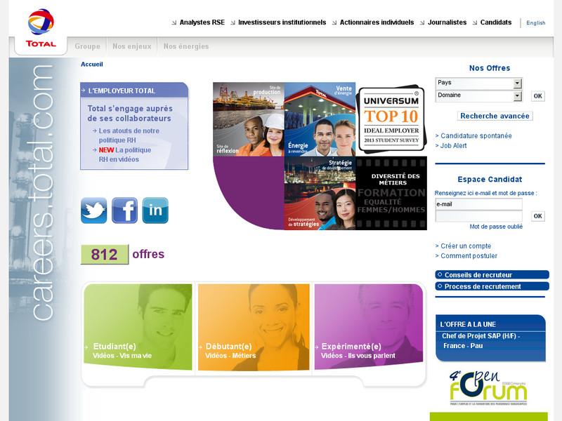 L'espace de recrutement du site Total.com