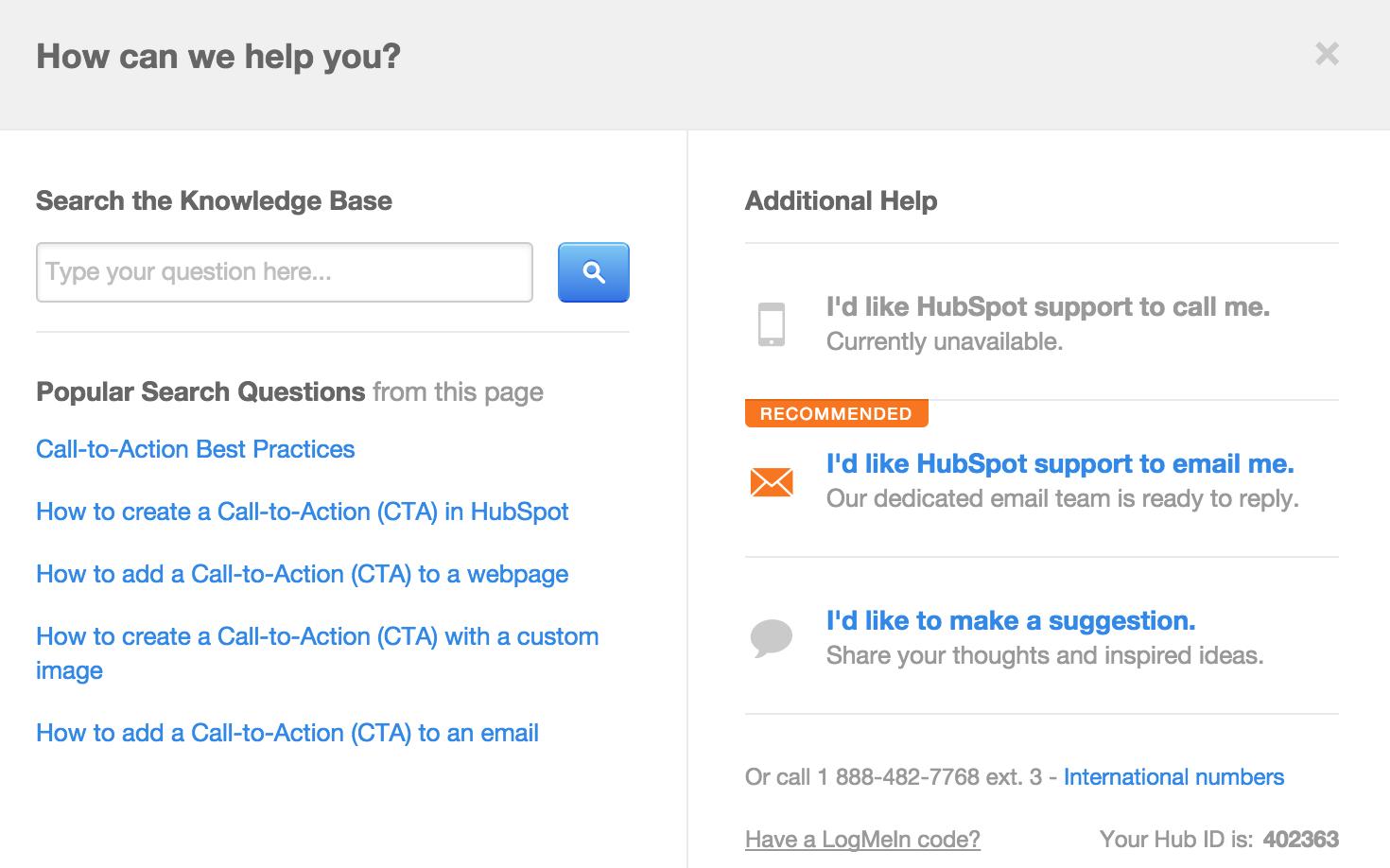 support hubspot