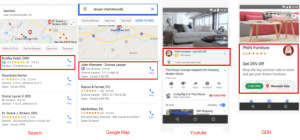 Drive to Store sur Search, Google Map, YouTube, GDN